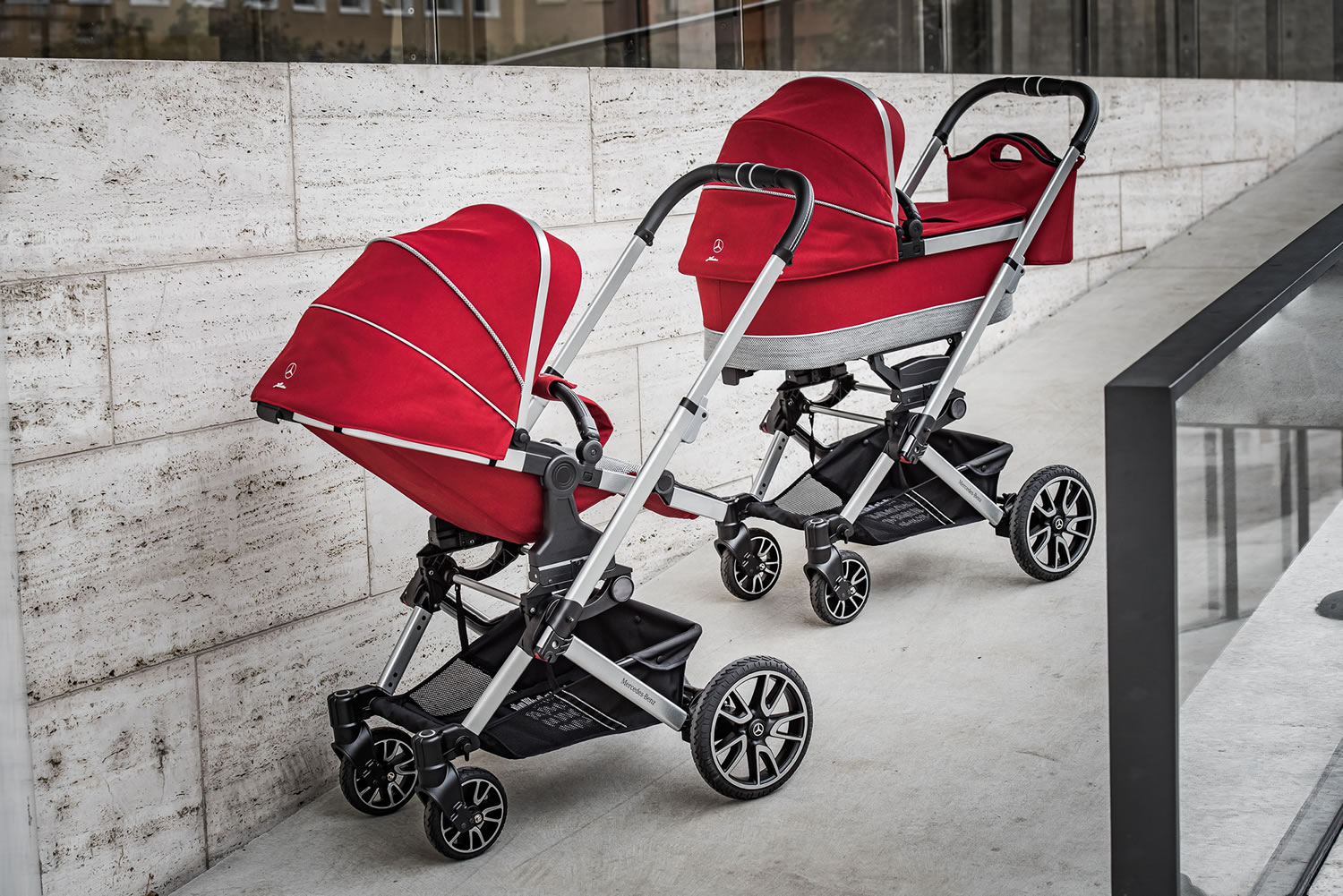 Two Hartan Mercedes-Benz strollers in Hyacinth